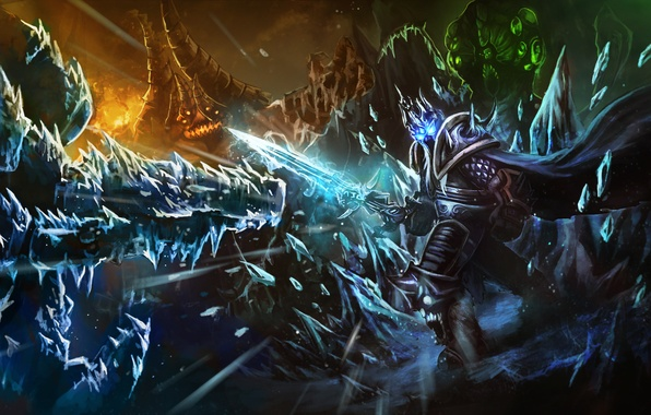 Photo wallpaper Heroes of the Storm, ice, warcraft, diablo, arthas, lich king, Abathur, starcraft, sword, Azmodan