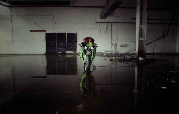 Picture green, green, lights, motorcycle, yamaha, bike, the front, Yamaha, yzf-r1
