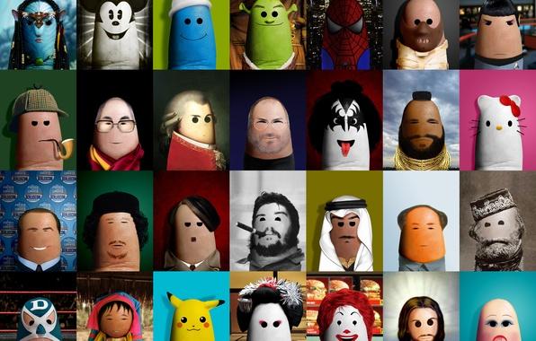 Picture creative, Shrek, Jesus, doll, art, geisha, fingers, Avatar, Sherlock Holmes, McDonald's, Che Guevara, Sheikh, Steve …