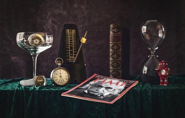 Picture time, watch, texture, book, still life, journal, Einstein, chronometer