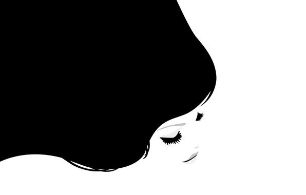 Picture Girl, Figure, Black background, White background