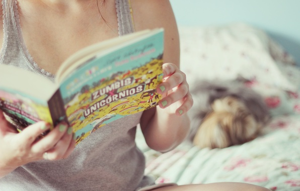 Picture girl, background, Wallpaper, mood, bed, hands, zombies, book, owner, walpapers