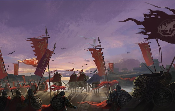 Picture weapons, Asia, horses, army, war, art, banners, army
