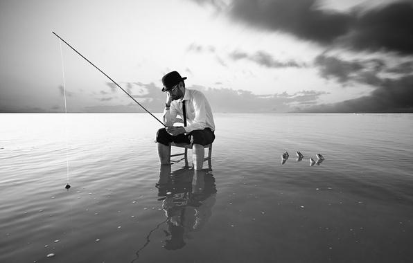 Picture sea, fish, fishing, people