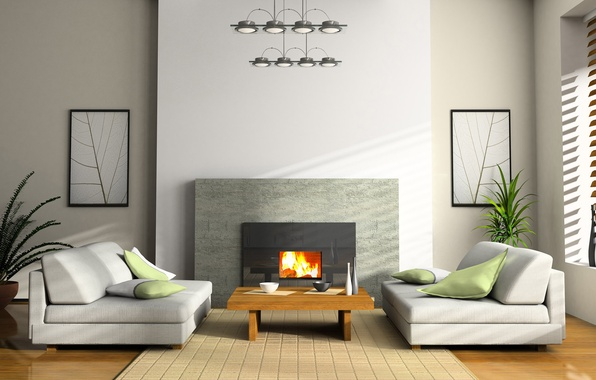 Picture design, style, paper, table, room, sofa, fire, interior, plants, chair, Cup, pictures, vase, fireplace, apartment