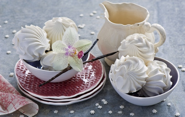 Picture flower, dishes, still life, Orchid, marshmallows