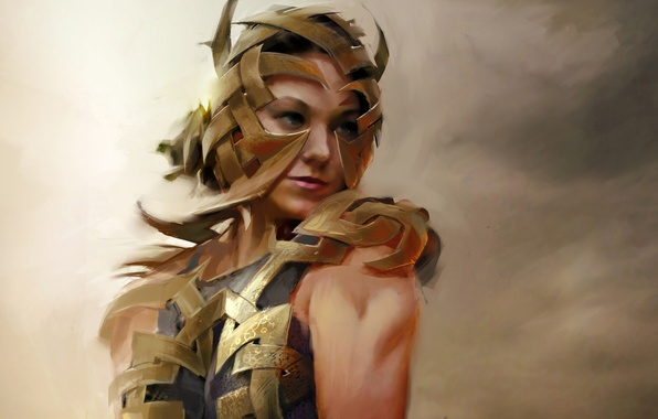 Picture girl, plate, metal, tape, art, armor, Guild Wars