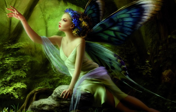 Picture forest, girl, butterfly, flowers, stone, hand, wings, fairy, wreath, sitting
