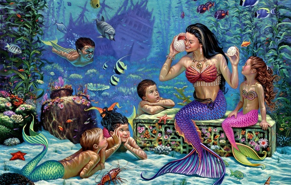 Picture fish, children, mermaid, the bottom of the sea, frigate, Wil Cormier