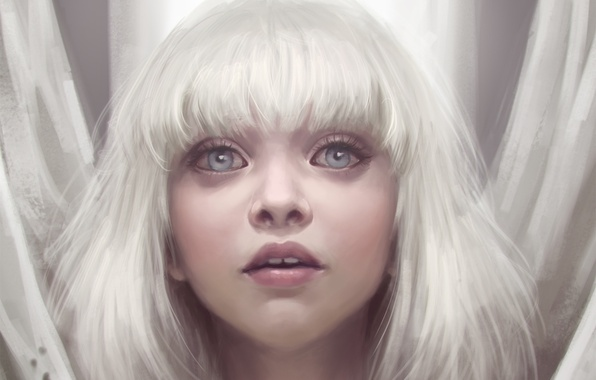 Picture eyes, look, girl, white hair, art, Maddie Ziegler, Sia