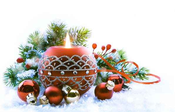 Picture snow, holiday, toys, new year, candle, spruce, the scenery, happy new year, christmas decoration, Christmas …