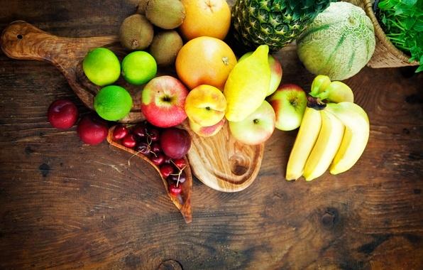 Picture photo, lemon, apples, orange, food, bananas, lime, fruit, melon