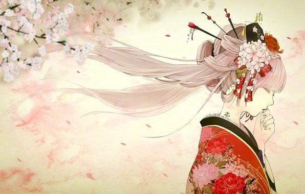 Picture girl, spring, Sakura, tattoo, art, profile, kimono, vocaloid, hatsune miku, yache, sakura, mike