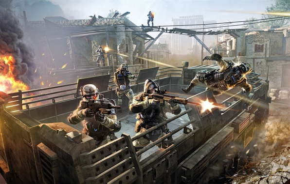 Picture weapons, soldiers, team, sniper, attack, shootout, fighters, medic, Crytek, engineer, Warface, Blackwood, MMOFPS