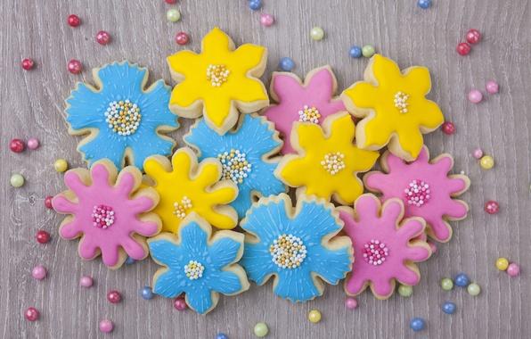 Picture flowers, cookies, sugar, blue, flowers, cakes, sweet, sweet, glaze, beads, cookies, pastel