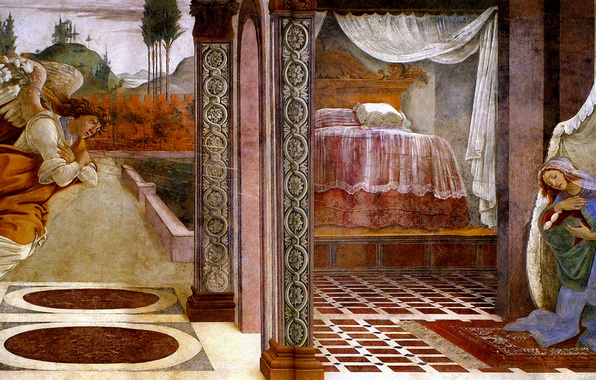 Picture angel, picture, religion, mythology, Sandro Botticelli, The Annunciation