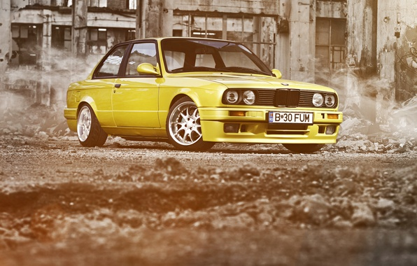Picture yellow, BMW, BMW, ruins, yellow, Coupe, E30, 3 Series