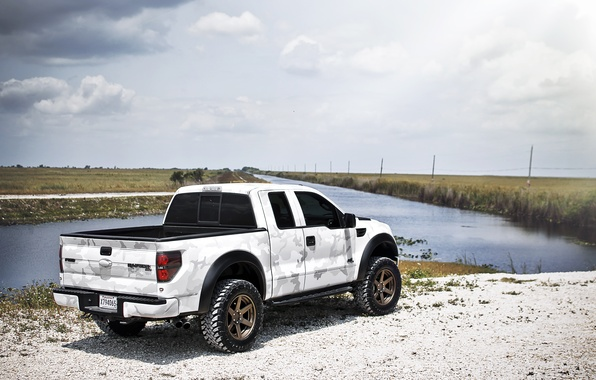 Picture white, the sky, clouds, Ford, white, river, Ford, Raptor, pickup, Raptor, F-150, SVT, camouflage pattern
