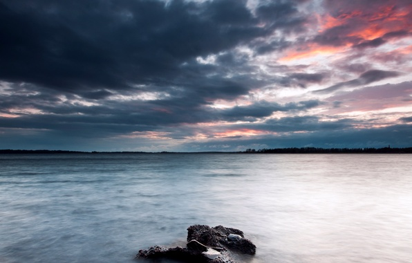 Picture the sky, clouds, lake, stones, shore, the evening, Sweden, sky, Sweden, coast, clouds, lake, evening, …