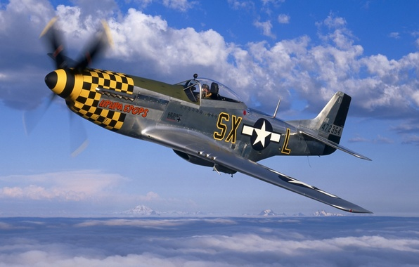 Picture the sky, clouds, Mustang, fighter, Mustang, propeller, the plane, P-51, North American, North American, P-51