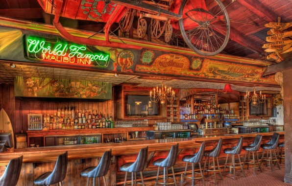 Picture bar, TV, chairs, drinks, bar, stand, bar, infamous, pub, alcohol., malibu
