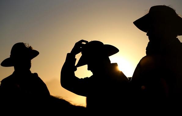 Picture hat, silhouette, Australia, men, Anzac Day, Currumbin QLD
