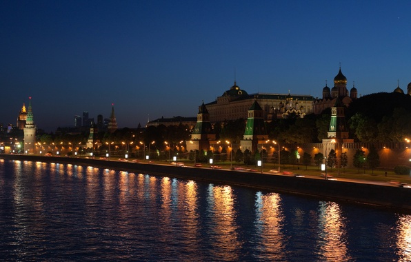 Picture night, the city, lights, river, the Kremlin, promenade, lamps