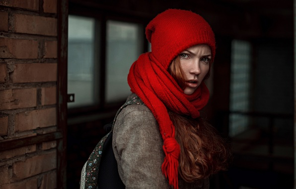Picture girl, hat, scarf, George Chernyadev, Angry girl