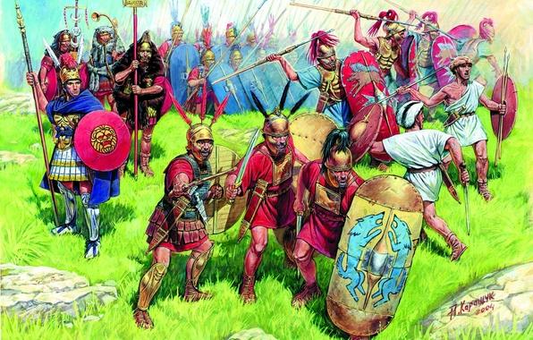 Picture grass, stones, earth, figure, armor, art, swords, shields, Darts, spears, infantry, centurion, A. Karashchuk, velites, …