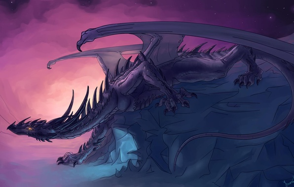 Picture look, rock, fiction, dragon, wings, art, crawling