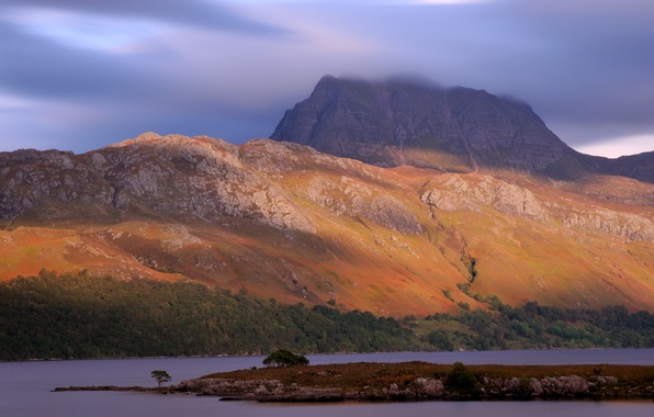 Picture the sky, trees, mountains, nature, lake, the evening, Scotland, UK, Scotland, Great Britain