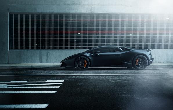 Picture car, black, street, hq Wallpapers, William Stern, Lamborghini Huracan