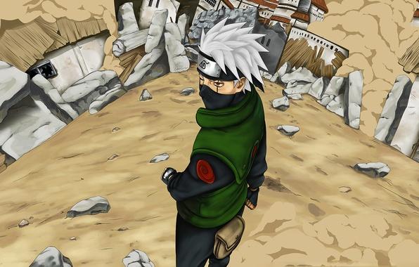 Picture art, Anime, ruins, Naruto, Naruto, Sharingan, Hatake Kakashi, Konoha