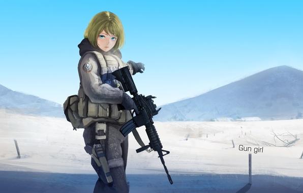 Picture girl, mountains, weapons, desert, anime, art, soldiers, pantsu shinshi