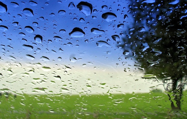 Picture glass, water, transparency, drops, after the rain, macro