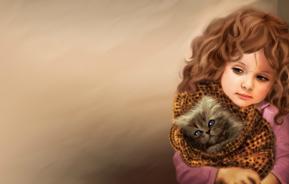 Picture love, face, kitty, heat, animal, hair, child, art, girl, blanket, curls