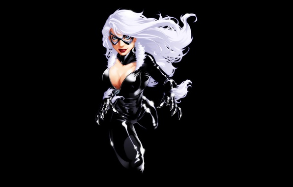 Picture chest, girl, black background, white hair, comic, marvel, Marvel Comics, Black Cat, Felicia Hardy, Black …