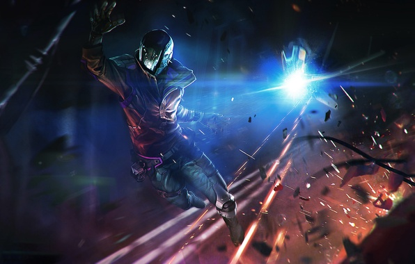 Picture night, fiction, chase, explosions, shooting, helmet, male, cyborg