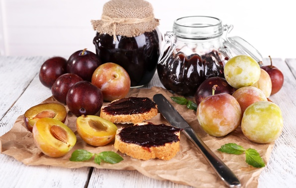 Picture photo, Knife, Food, Jam, Sandwiches, Bank, Plum