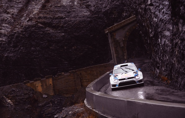 Picture road, Auto, Rocks, White, Volkswagen, WRC, Rally, Rally, wet, Polo