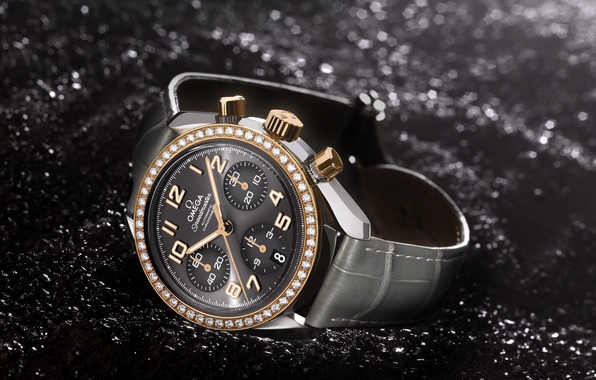 Picture style, gold, watch, leather, Omega, Speed Ladies