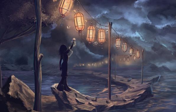Picture girl, night, rain, art, lights