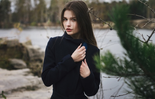 Picture autumn, forest, look, girl, branches, nature, face, lake, stones, mood, model, clothing, portrait, spruce, scarf, …