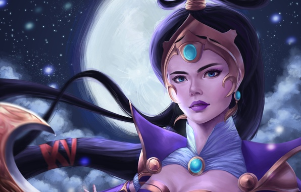 Picture look, the moon, art, lol, League of Legends, Diana