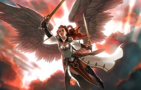 Picture girl, clouds, light, wings, armor, swords, Magic: The Gathering