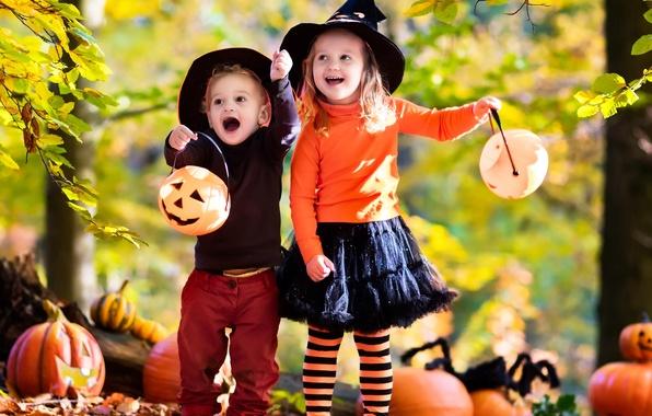 Picture autumn, joy, children, hat, girl, Halloween, pumpkin, Halloween, Pumpkin, Autumn