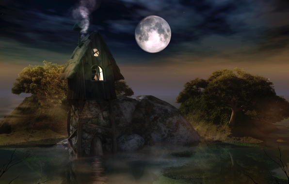 Picture water, trees, night, the moon, smoke, stars, hut, darkness
