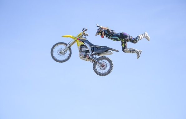 Picture the sky, flight, maneuver, pilot, motocross, Superman, FMX, extreme sports