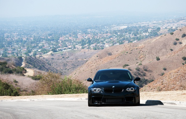 Picture road, black, bmw, BMW, shadow, black, 335i, the front, e92, daylight