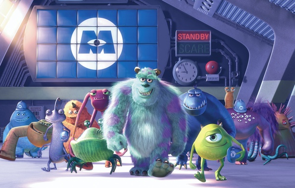 Photo wallpaper cartoon, characters, Monsters Inc., Monsters Inc